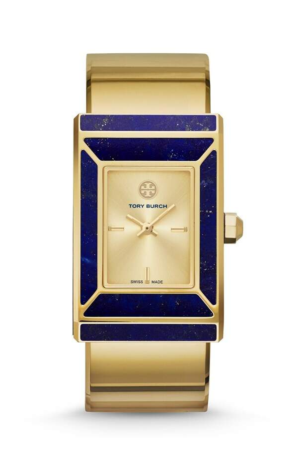 Relógio Tory Burch Robinson Rectangle Case Bangle Dourado com Lapis