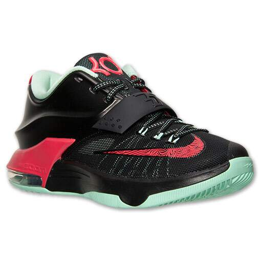 Tênis Nike Masculino KD VII 7 Preto, Vermelho e Mint - Black/Action Red/Medium Mint