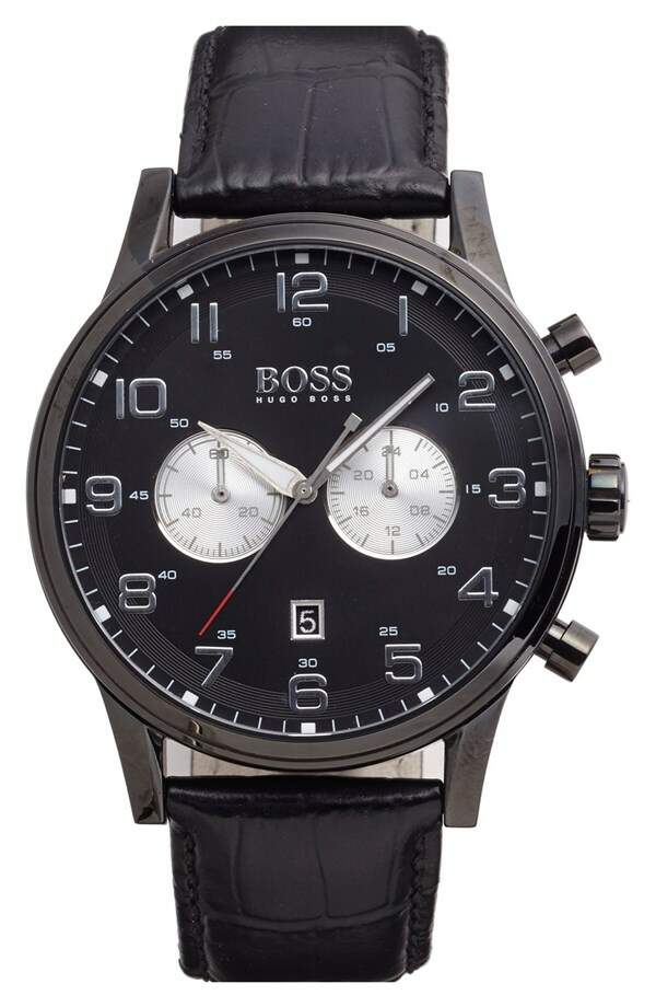 Relógio Boss Hugo Boss Chronograph Leather Strap Preto