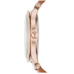 Relógio Michael Kors \\\'Kerry\\\' Crystal Accent Leather Strap Watch, 38mm - Marrom  e Ouro Rosa