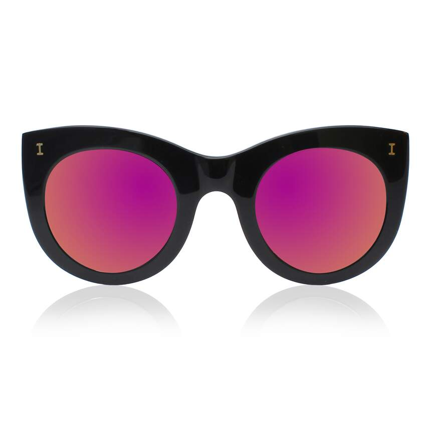 Óculos Sol illesteva BOCA MATTE BLACK WITH PINK MIRRORED LENSES