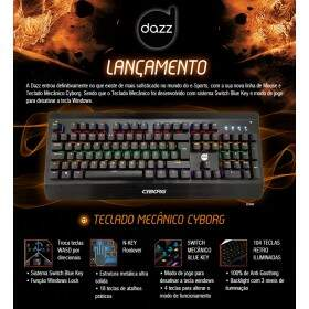 # BLACK NOVEMBER # Teclado Gamer Dazz Cyborg Mecânico Switch Blue - 622568