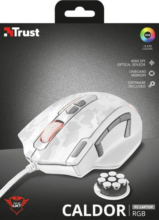 Mouse Trust Gamer GXT 155W Caldor White Camouflage RGB 4.000 DPI