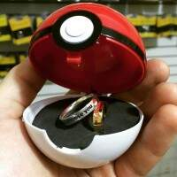 Conjunto Estojo de Pokebola com Par de Alianças I Choose You - ConjPOKE