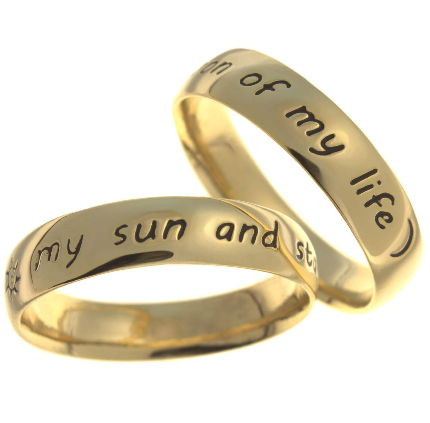 Par de Alianças - Moon of my life e My Sun and Stars - 6mm - bold - 1442