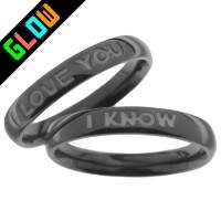 Par de Alianças Linha Black - I love You / I know - 4mm - Bold - 1233black