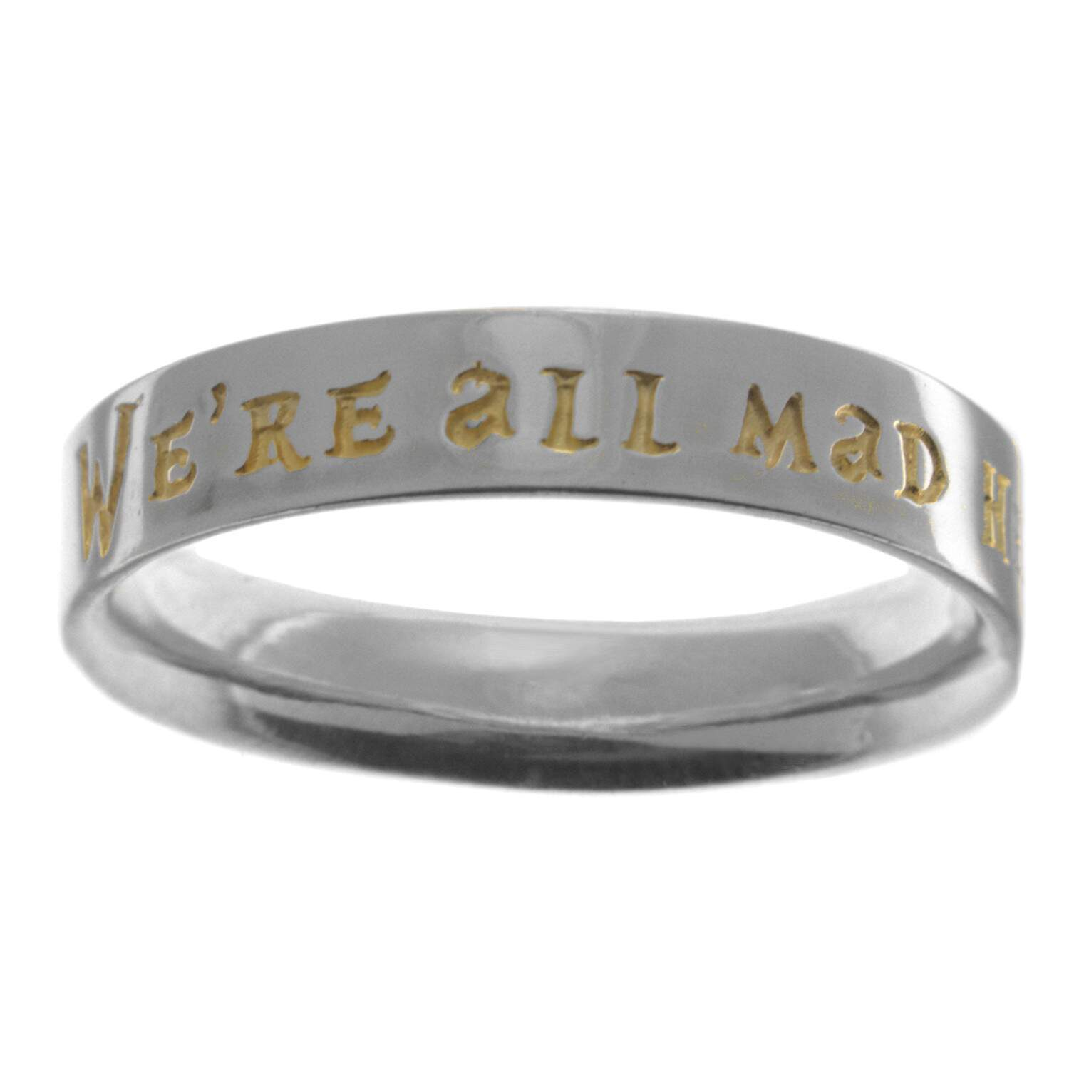 Aliança / Anel em Prata com Aplique de ouro 18k - We are all made here - 1508gold