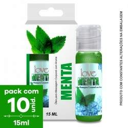 Pack com 10 Soft Love Gel Comestível ICE Menta Ice  15ml