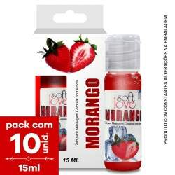 Pack com 10 Soft Love Gel Comestível ICE Morango Ice  15ml