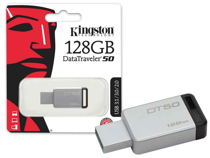 Pen Drive 128GB Kingston DT50/128GB Prata USB 3.1