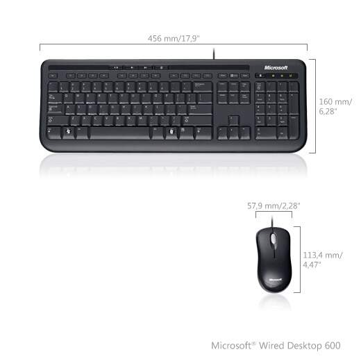 Kit Teclado e Mouse Microsoft Wired Desktop 600