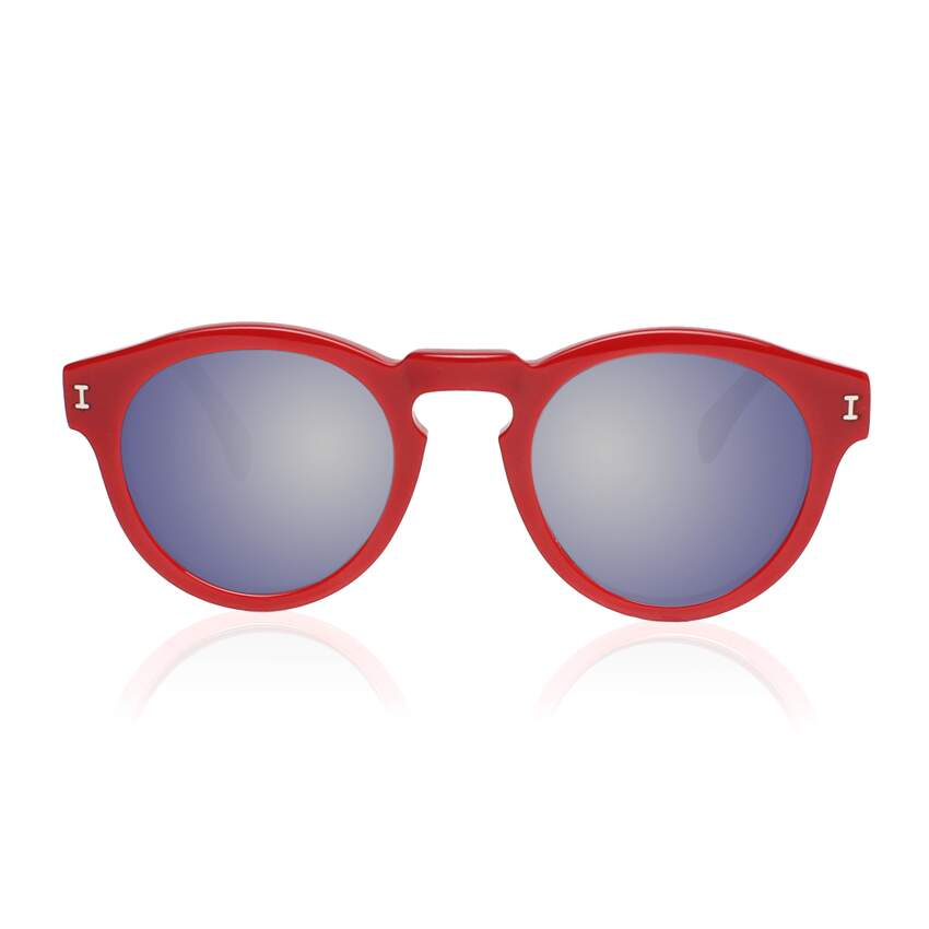 Leonard Red / Black with Metal Mirrored Lenses