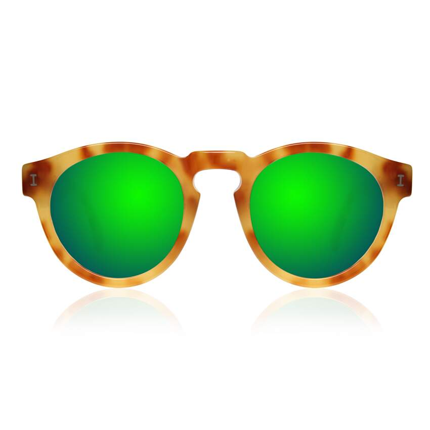 Leonard Amber with Green Mirrored Lenses