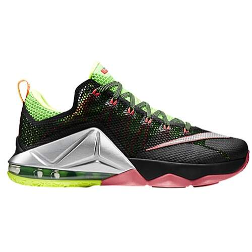 Lebron 12 Low Black / Metallic Silver / Green Strike / Volt Infantil