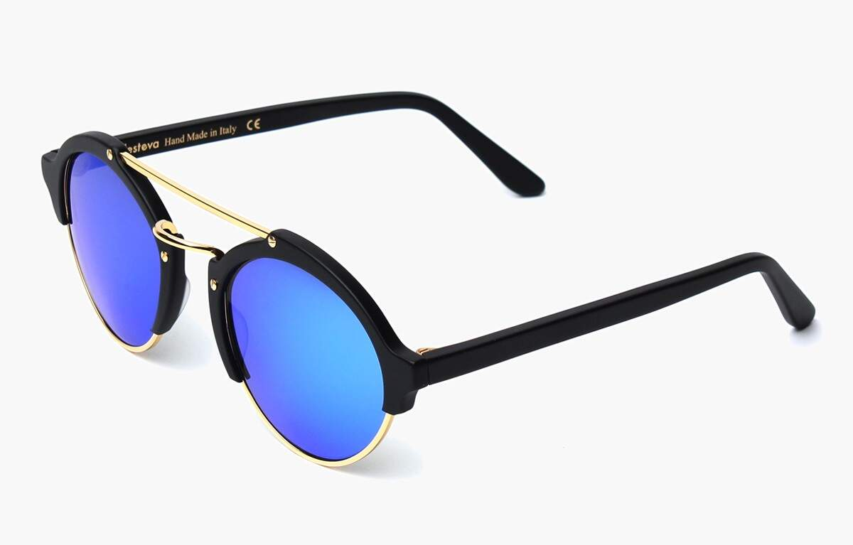 Milan II Matte Black with Blue Mirrored Lenses