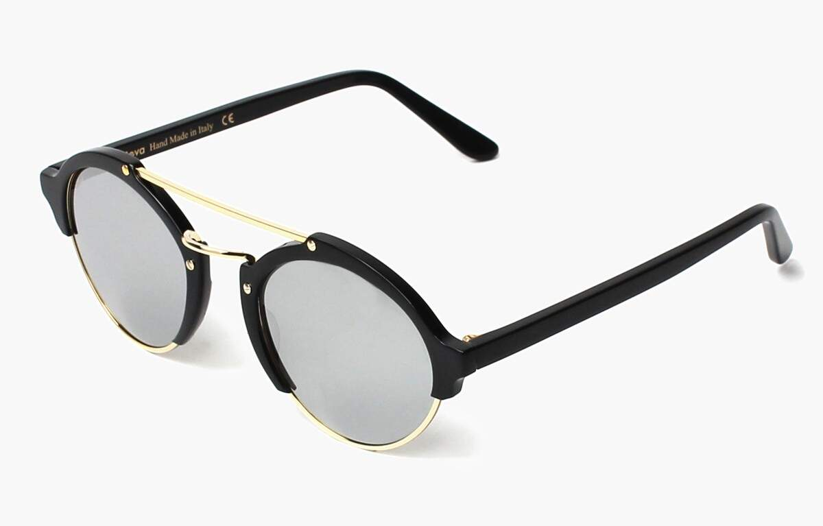 Milan II Black with Silver Mirrored Lenses