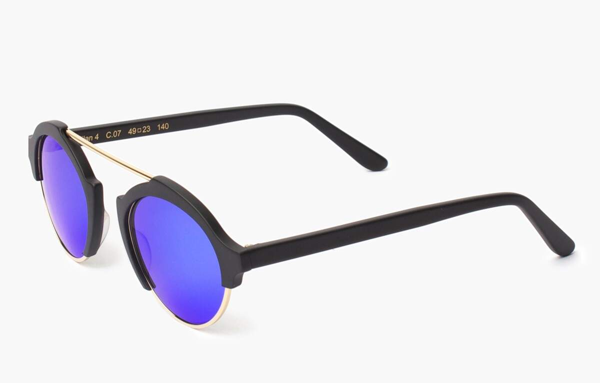 Milan IV Matte Black with Blue Mirrored Lenses