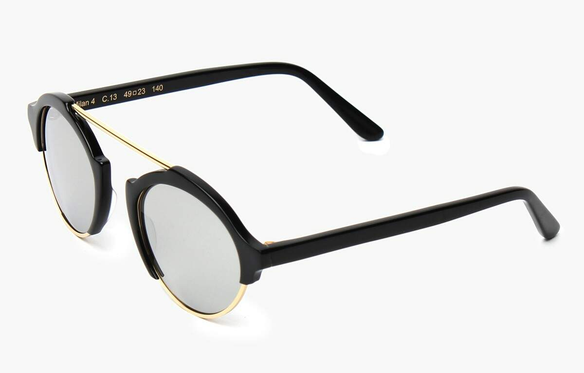 Milan IV Black with Silver Mirrored Lenses