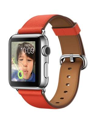 Apple Watch 38mm Stainless Steel Case with Red Classic Buckle