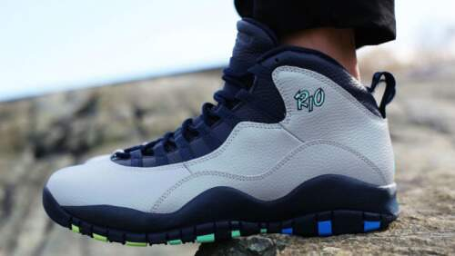 Jordan Retro 10 Wolf Grey / Photo Blue / Obsidian / Green Glow Infantil