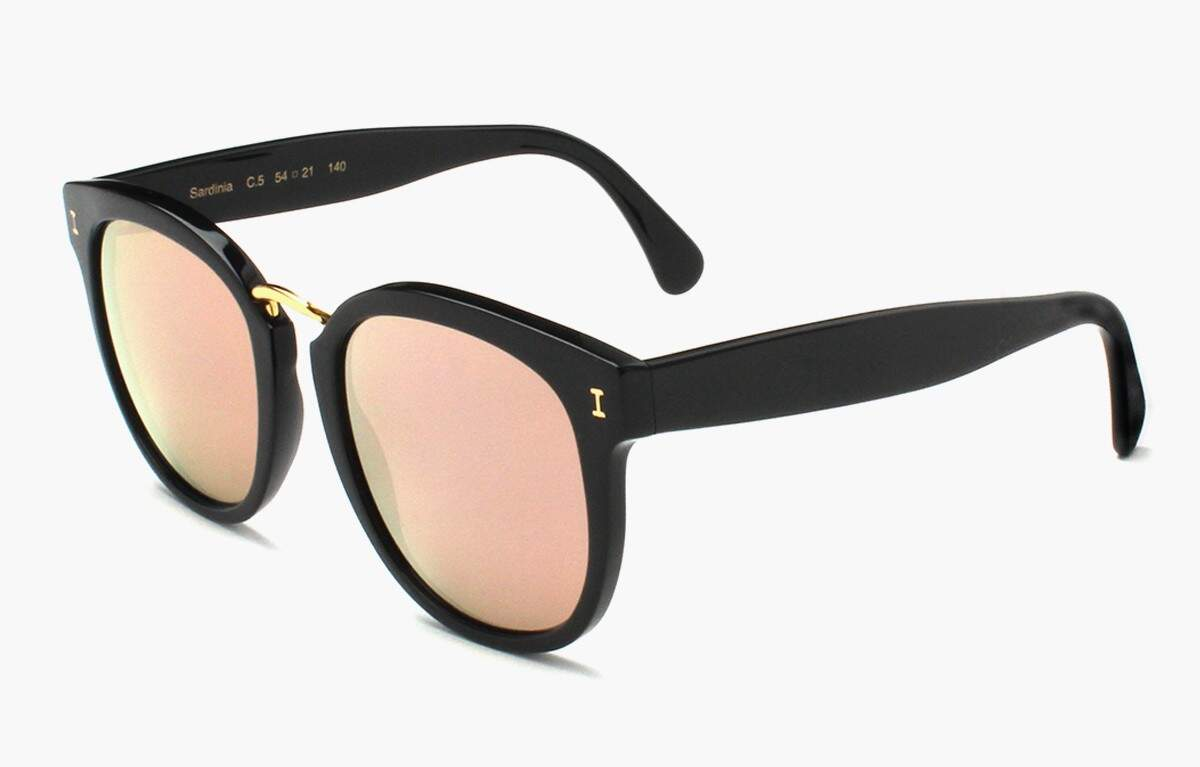 Sardinia Black with Rose Mirrored Lenses