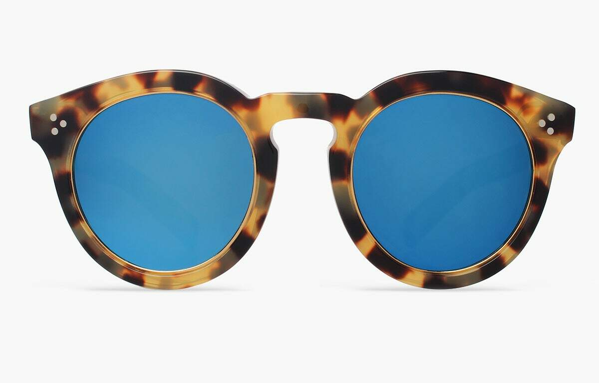 Leonard II Ring Tortoise with Blue Mirrored Lenses