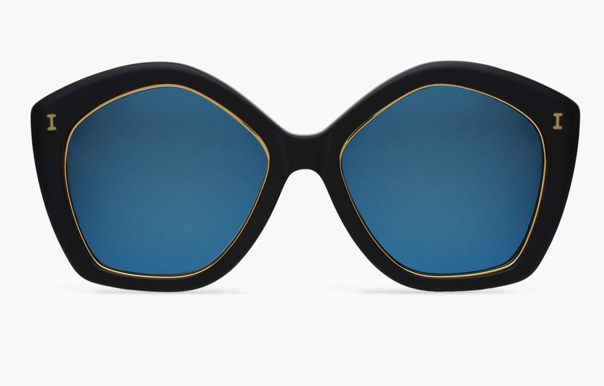 Terry Matte Black with Blue Mirrored Lenses