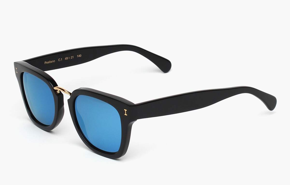 Positano Black with Blue Mirrored Lenses