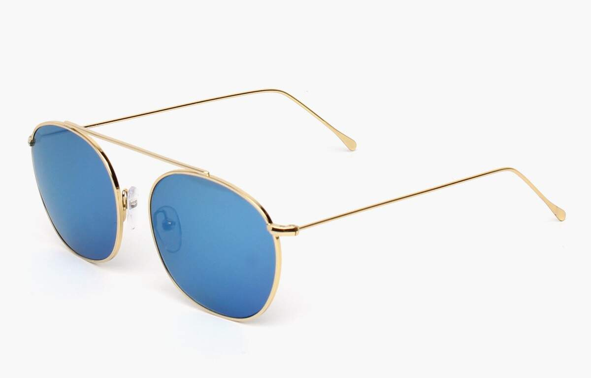 Mykonos Gold with Blue Mirrored Lenses