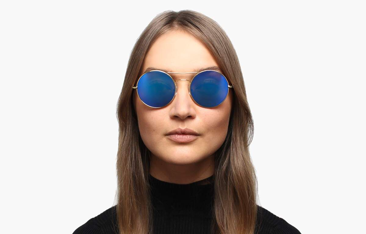 Delon Gold with Blue Mirrored Lenses