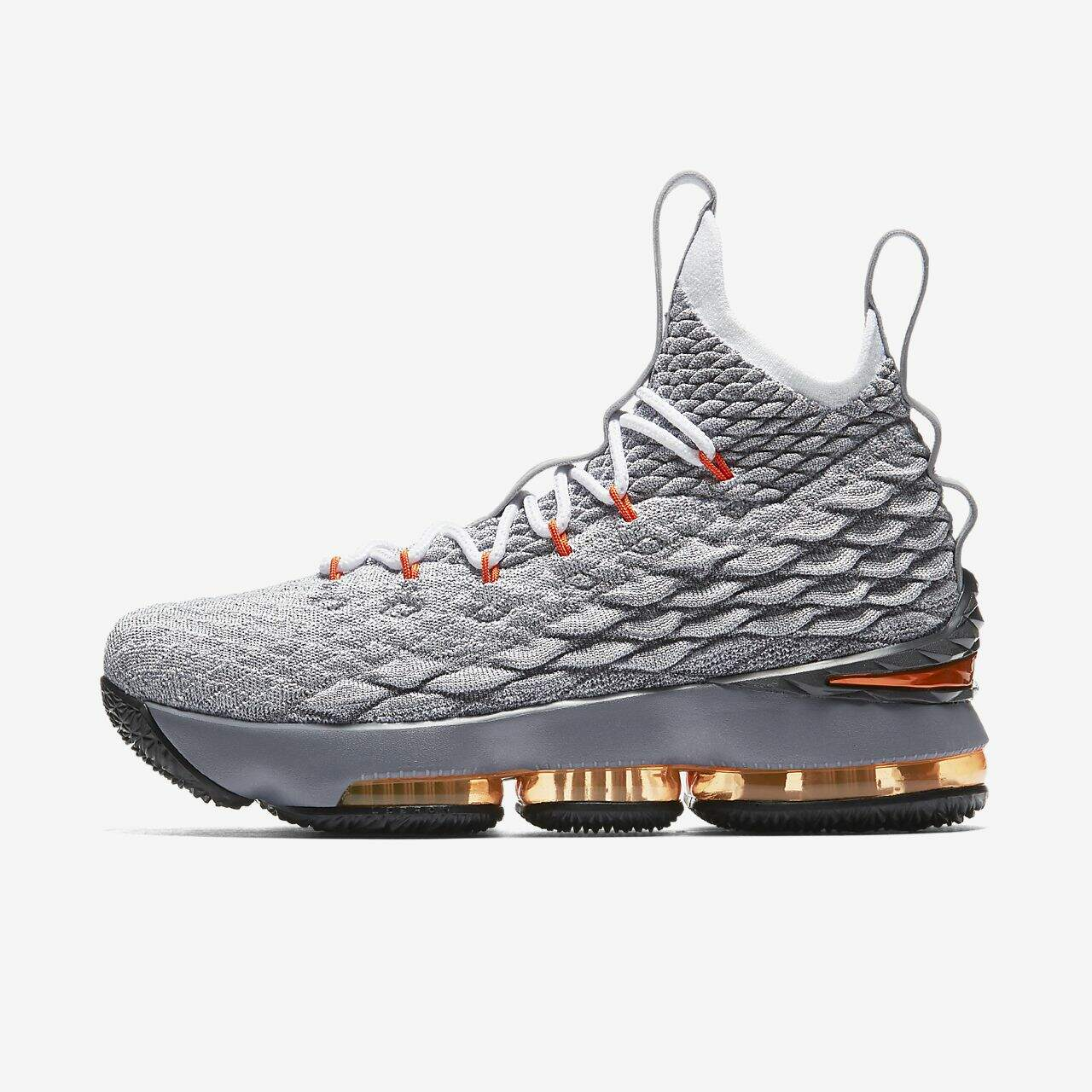 LeBron 15 Black / Safety Orange / Dark Grey / Wolf Grey Infantil