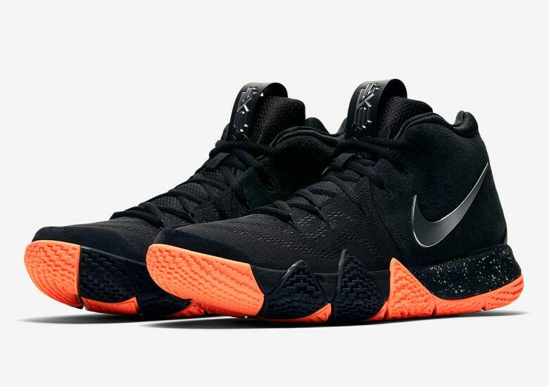 the latest f86c1 e0ee7 Kyrie 4 Black / Orange Masculino