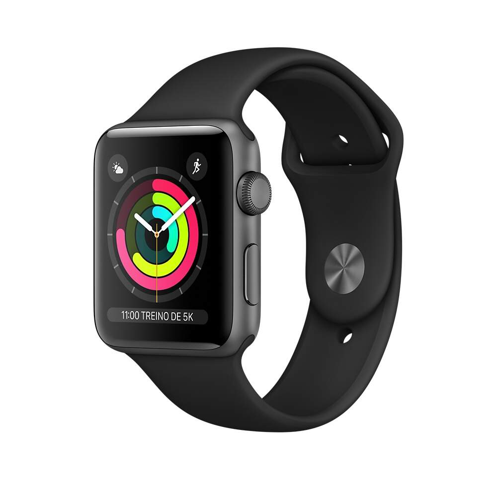 Apple Watch Series 3 Space Gray Aluminum Case with Black Sport Band 42mm