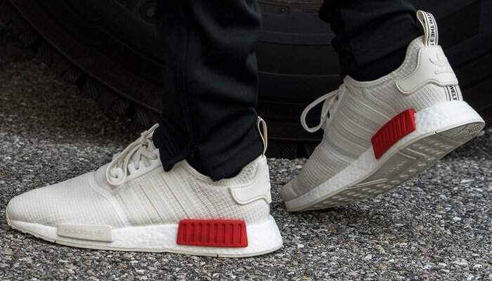 low priced cd23e 1de50 NMD R1 Off White / Lush Red Masculino