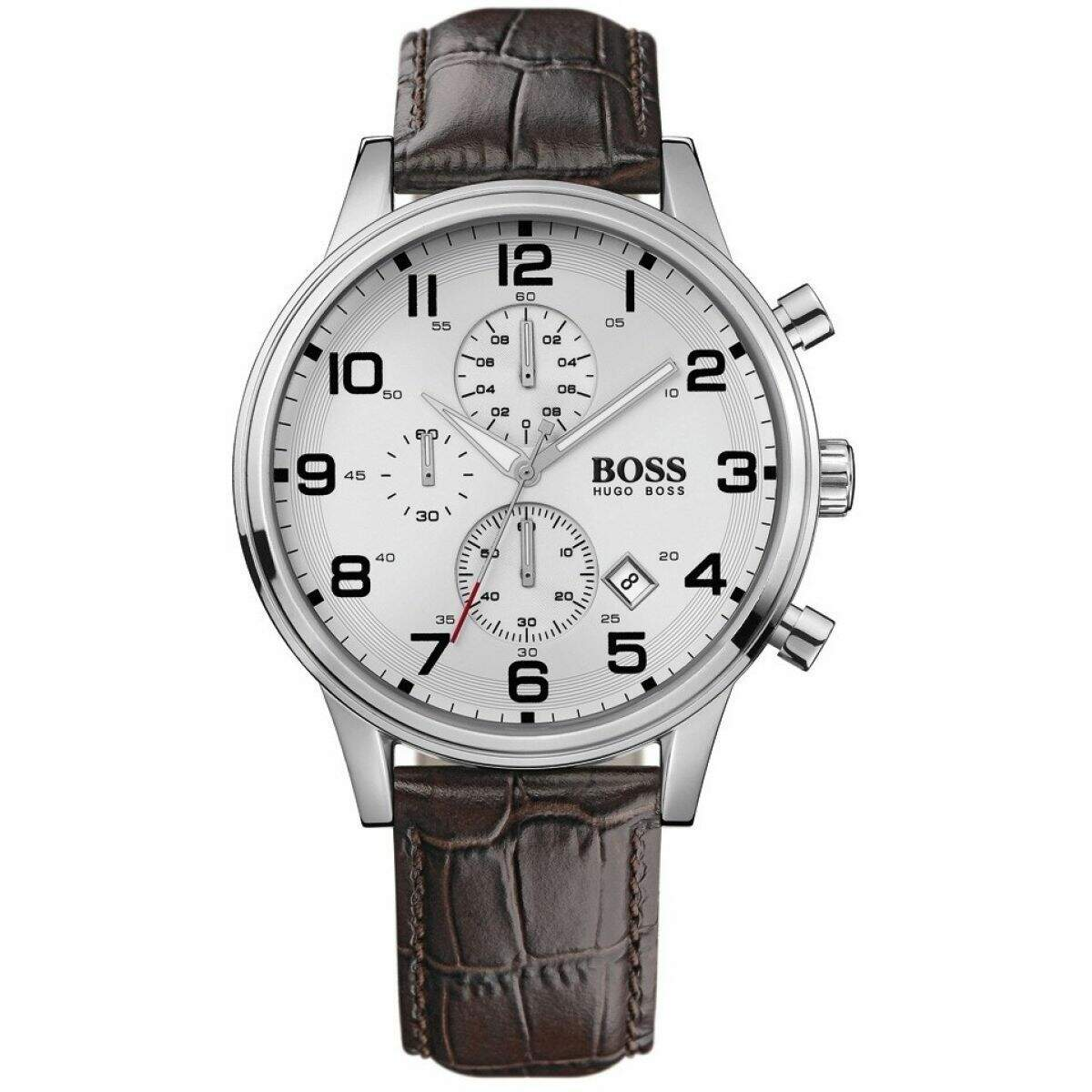 1512447 Brown Leather Band With Silver Analog Dial