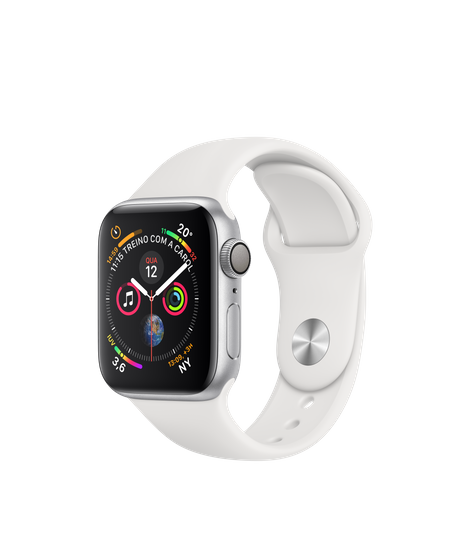 Apple Watch Series 4 Silver Aluminum Case with White Sport Band 40mm