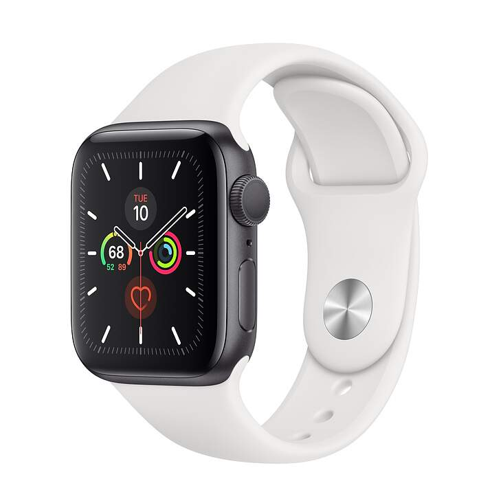 Apple Watch Series 5 Space Gray Aluminum Case with White Sport Band