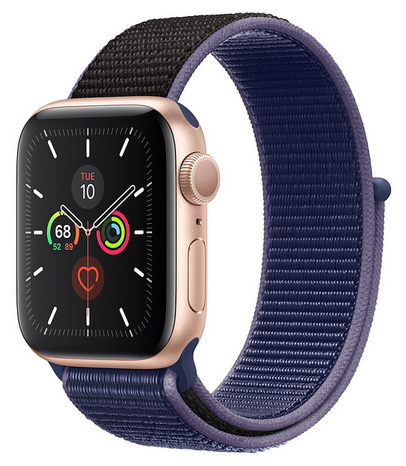 Apple Watch Series 5 Gold Aluminum Case with Midnight Blue Sport Loop