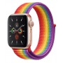 Apple Watch Series 5 Gold Aluminum Case with Pride Sport Loop