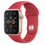 Apple Watch Series 5 Gold Aluminum Case with Red Sport Band