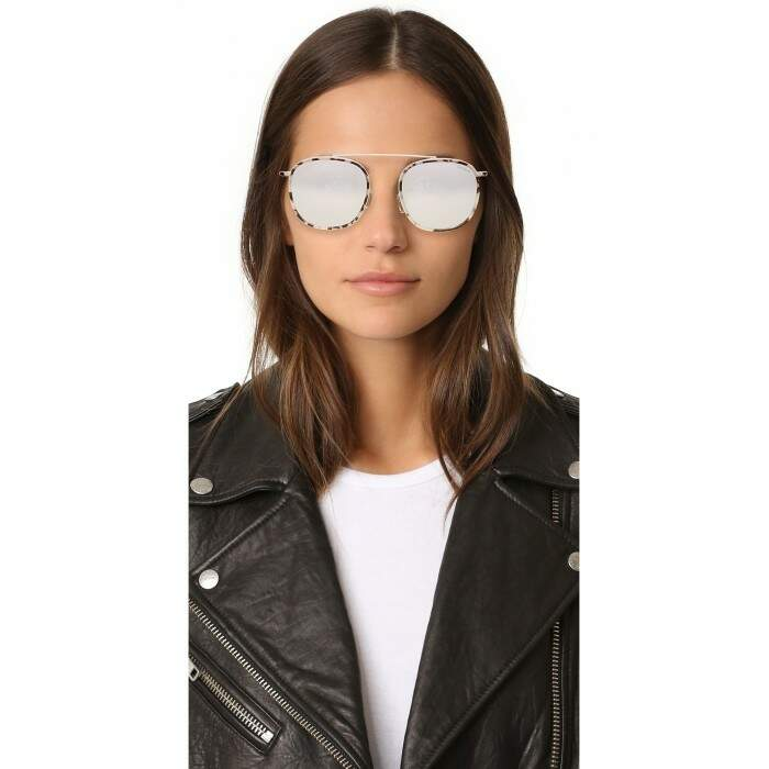 Wynwood Ace White Tortoise With Silver Flat Mirrored Lenses