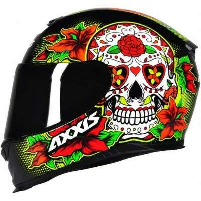 CAPACETE AXXIS EAGLE SKULL GLOSS BLACK / YELLOW