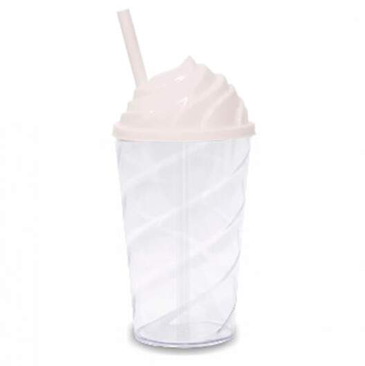 Copo Twister Chantilly de Acrílico Transparente c/ Tampa Branca - 500 ml