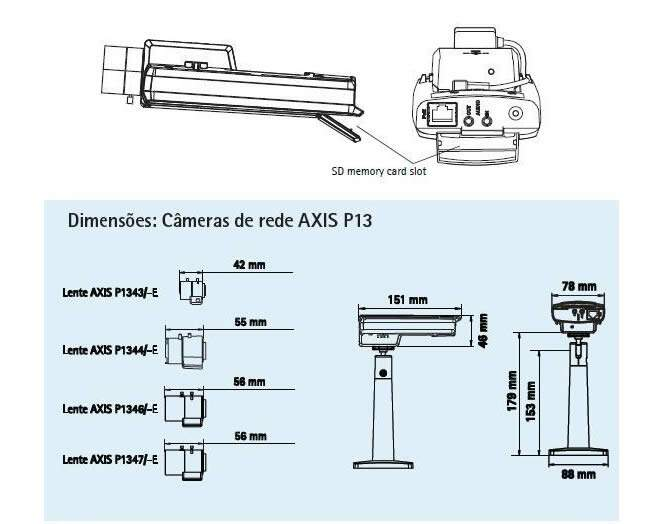 AXIS Camera de Video IP Fixa P1346-E Externo, 1600x1200, PoE IEEE 802.3af