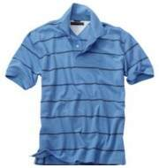 Camisa Polo Tommy Hilfiger Stripe Pique Azul Claro-Masculina