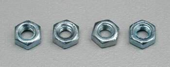 4MM STEEL HEX NUTS 4/PK