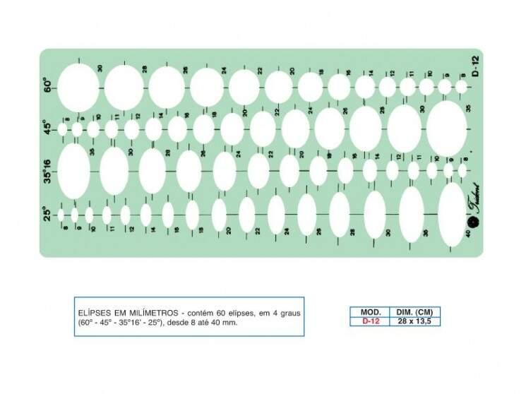 Gabarito D-12 Acrílico Linha Profissional Ideal para a Área de  Desenho TRIDENT D 12 .