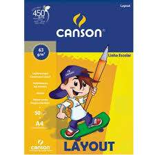Bloco Layout A4 63g/m² Liso 50 fls Canson .