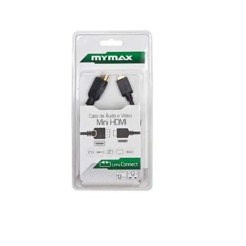 Cabo Áudio/Video  Mini HDMI  1.2 mts Preto MYMAX