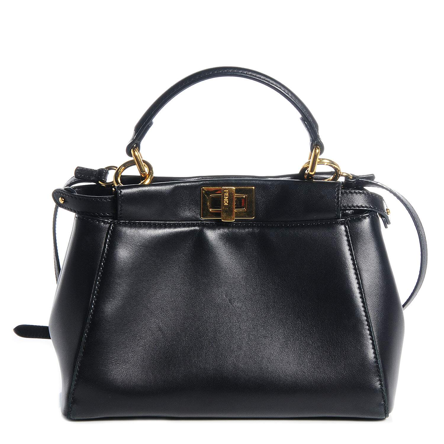 Bolsa Fend Mini Peekaboo Black Leather